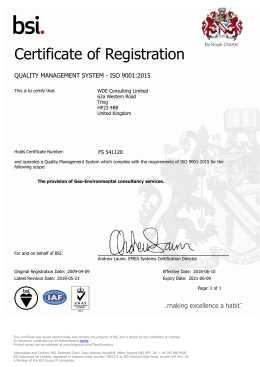 BSI Certificate QMS-1